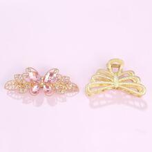 2 piezas horquilla grabada con diamante de imitacion con garra de pelo