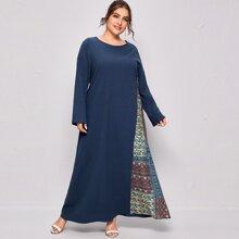 Plus Contrast Tribal Print Tunic Dress