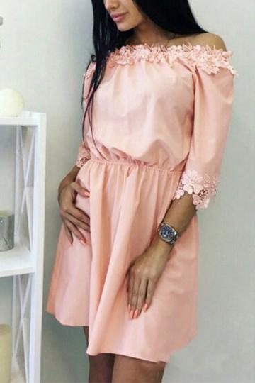 Yoins Light Pink Off-the-shoulder Lace Trim Mini Dress