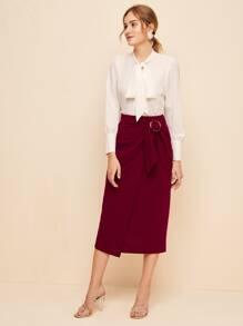 Buckle Detail Wrap Knot Skirt