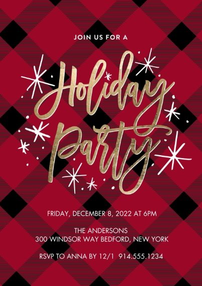 Christmas & Holiday Party Invitations 5x7 Cards, Premium Cardstock 120lb, Card & Stationery -Holiday Invite Plaid by Tumbalina
