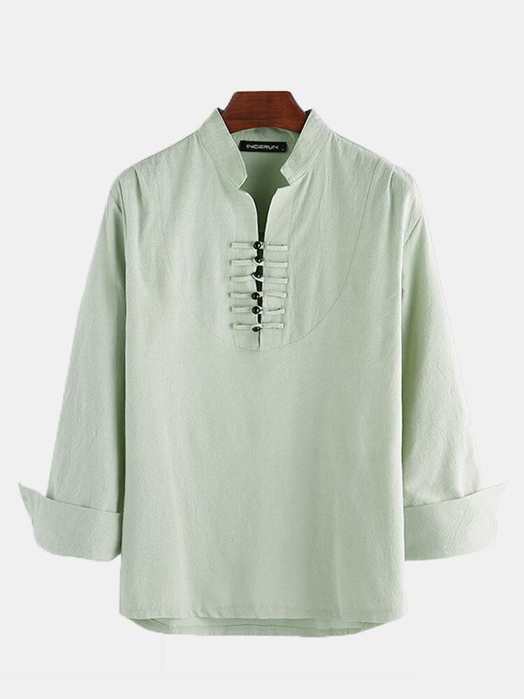 Mens Cotton Linen Ethnic Oriental Stand Collar Long Sleeve Henley Shirt