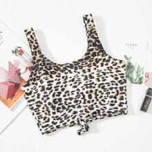 Leopard Knot Hem Bikini Top