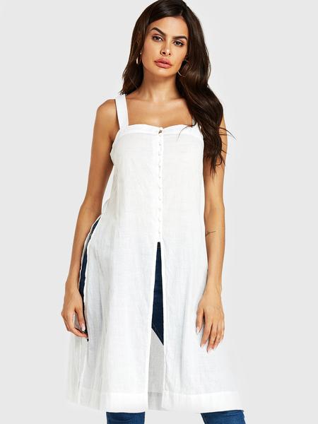 YOINS White Slit Design Embroidered Square Neck Sleeveless Cami