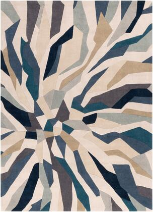 Cosmopolitan COS-9278 8' x 11' Rectangle Modern Rug in Bright Blue  Navy  Taupe  Beige  Ivory