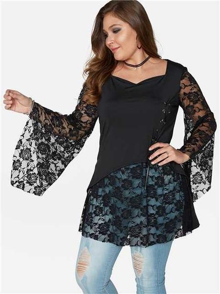Yoins Plus Size Black Lace-up Lace Details Blouses