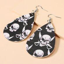 Halloween Skull Pattern Drop Earrings