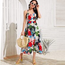 Floral Print Crisscross Cami Dress