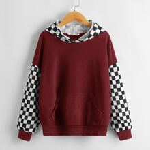 Girls Drop Shoulder Patch Pocket Checker Panel Hoodie