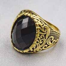 Men Gemstone Decor Ring
