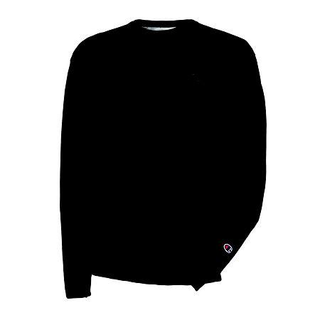 Champion Mens Long-Sleeve Powerblend Fleece Crew Sweatshirt, Small , Black