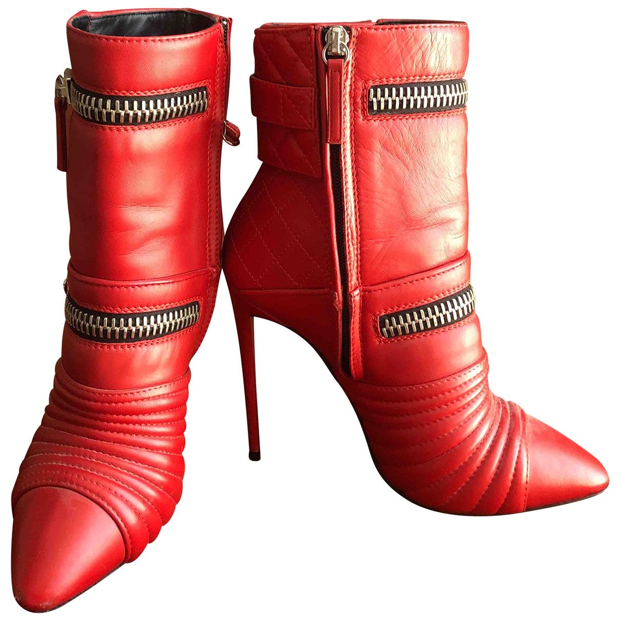 Giuseppe Zanotti - Boots   pour femme en cuir - rouge