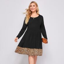 Plus Leopard Print A-line Dress