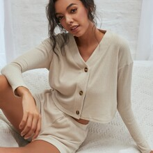Button Front Solid Top & Shorts