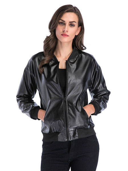 Milanoo Women\s Jackets Stand Collar Long Sleeve Zipper Classic Field Black Cotton Winter Jacket Outerwear