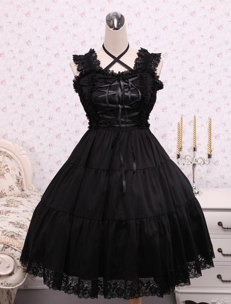 Milanoo Pure Black Cotton Lolita Jumper Skirt Lace Trim Lace Up Waist Belt