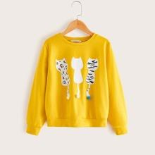 Maedchen Sweatshirt mit Katze Muster und Pompons