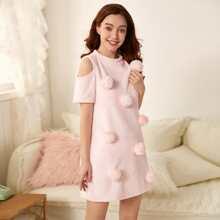 Pom Pom Detail Cold Shoulder Flannel Nightdress