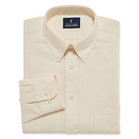 Stafford Mens Wrinkle Free Oxford Button Down Collar Big and Tall Dress Shirt, 20 34-35, Beige