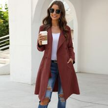 Waterfall Collar Double Breasted Trench Coat
