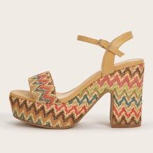 Color Block Chevron Chunky Heeled Sandals