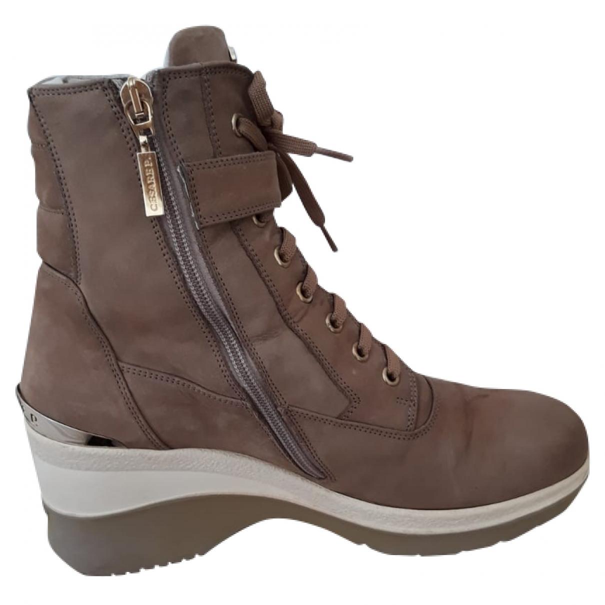 Cesare Paciotti - Boots   pour femme en suede - beige