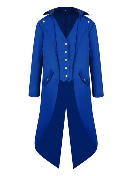 Milanoo Retro Costumes For Man High Low Coat Button Up Vintage Tuxedo