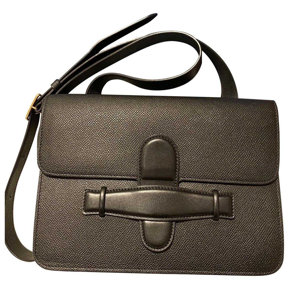 Celine Symmetrical Handtasche in  Schwarz Leder