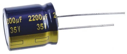 Panasonic 2200μF Electrolytic Capacitor 35V dc, Through Hole - EEUFK1V222S (5)