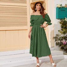 Bardot Shirred Waist Polka Dot Dress