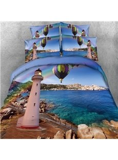 Fancy Lighthouse Sea Scenery Print 5-Piece Comforter Sets
