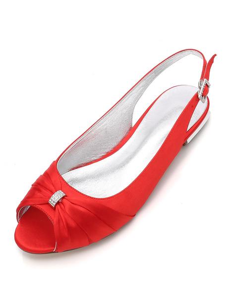 Milanoo Mother Of The Bride Shoes White Peep Toe Rhinestones Slingbacks Wedding Guest Shoes