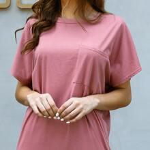 Solid Pocket Front Drop Shoulder Tee Dress