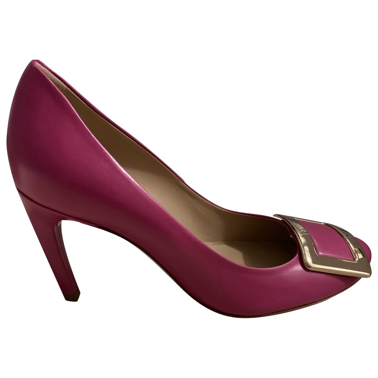 Roger Vivier Belle de Nuit Pink Leather Heels for Women 35.5 EU