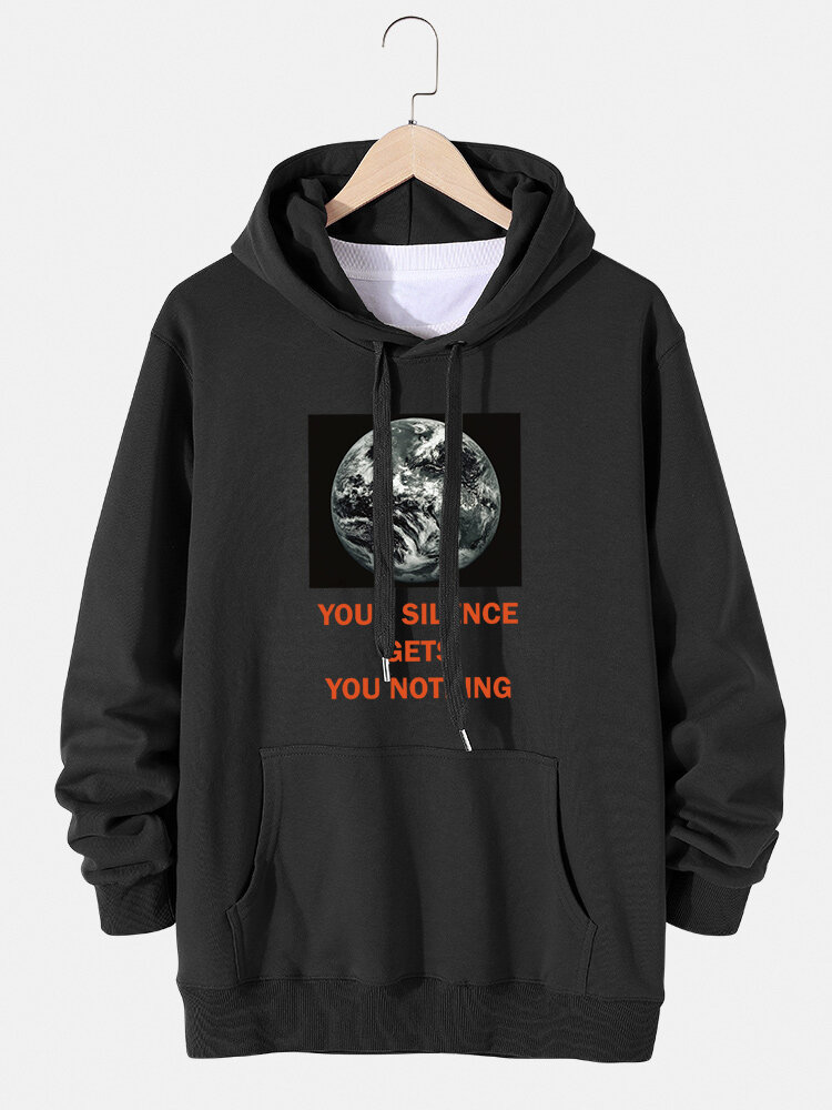 Mens Earth Graphic Slogan Print Cotton Drawstring Hoodies With Pouch Pocket