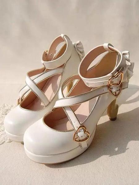 Milanoo Sweet Lolita Pumps Strappy Criss Cross Buckle Bow High Heel Lolita Shoes