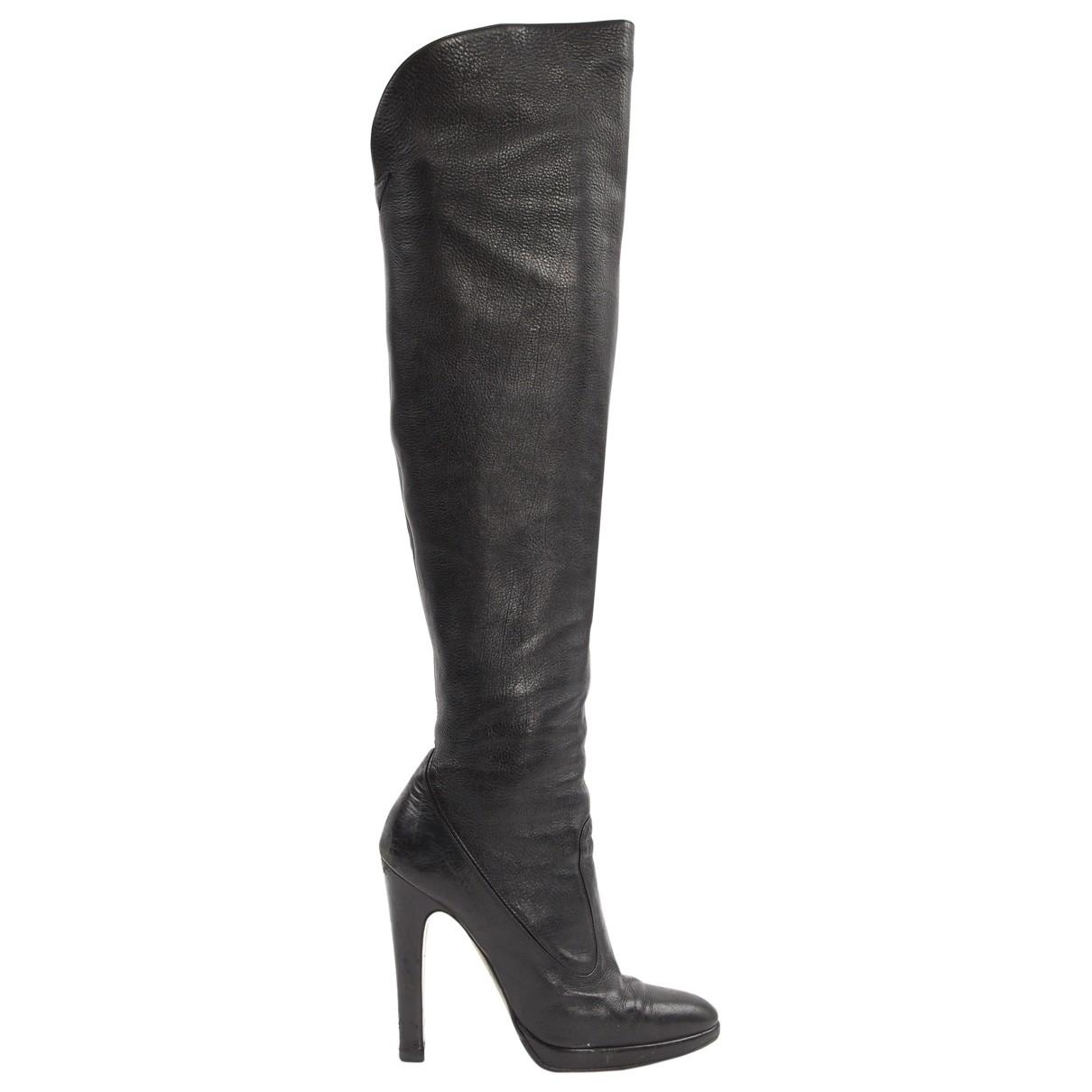 Roberto Cavalli \N Black Leather Boots for Women 38 EU
