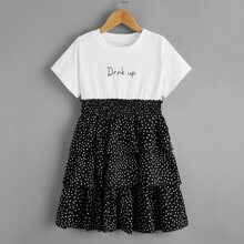 Girls Slogan Graphic Contrast Polka Dot Layered Hem Dress