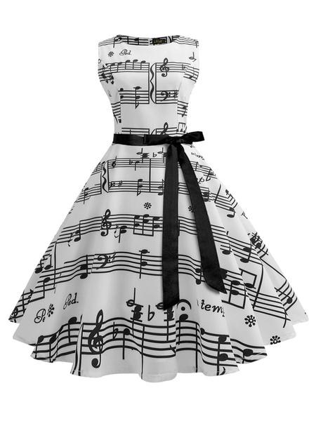 Milanoo Vestido retro Vestido de Rockabilly sin mangas con cuello de joya para mujer blanca de los años 50
