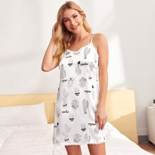 Lace Trim Cactus Print Satin Cami Night Dress
