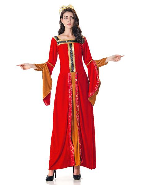 Milanoo Halloween Costume Retro Women Exotic Velour Maxi Dresses