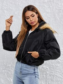 Contrast Faux Fur Trim Zip Up Hooded Puffer Jacket
