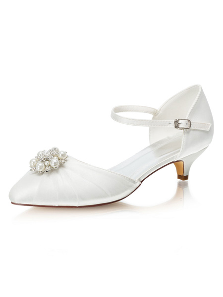 Milanoo Two Part Mid-low Heel Wedding Shoes Pointed Toe Pearls Kitten Heel Bridal Shoes