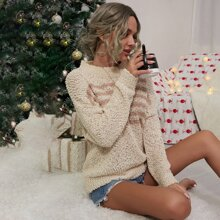 Drop Shoulder Striped Popcorn Knit Sweater