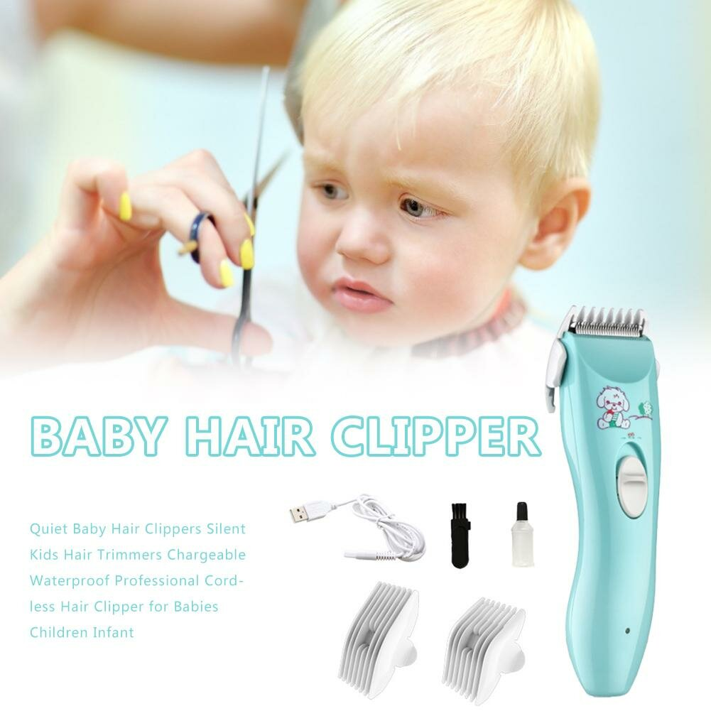 Baby Electric Hair Trimmer USB Waterproof Haircut Trimmer Rechargeable Ultra-Quiet Hair Clipper
