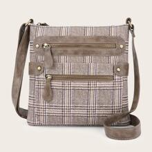 Double Zip Front Plaid Crossbody Bag
