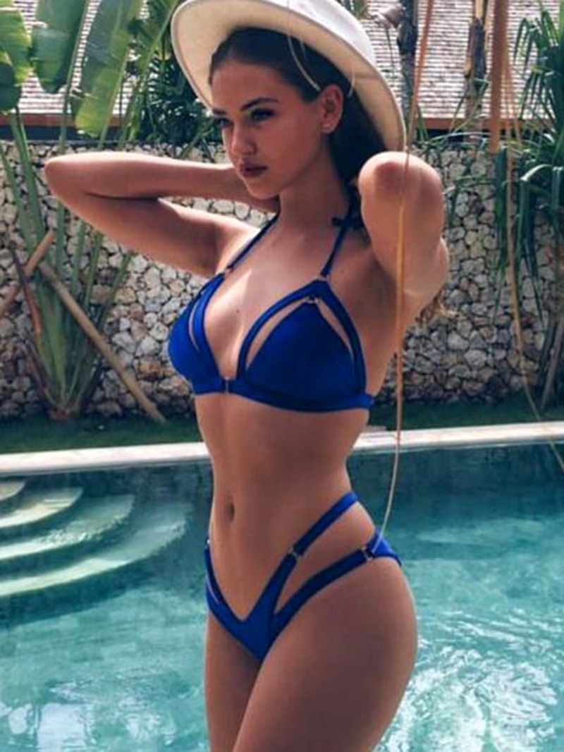 Ericdress Blue Hollow Halter Bikini Set