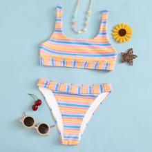Bikini Badeanzug mit Streifen Muster