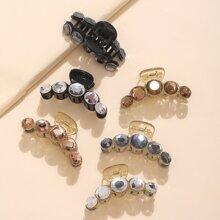 6 piezas garra de pelo grabada con diamante de imitacion