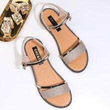 Glitter Detail Ankle Strap Sandals